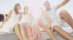 Smiling Caucasian Family Siblings Ocean Yacht Freedom Financial Investment - stock footage