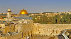 Time lapse of shadow covering Jerusalem's Old City as night falls. Cropped. Stock Footage