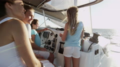 Smiling Caucasian Family Female Siblings Ocean Yacht Sail Freedom Success - stock footage