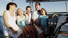 Happy Young Loving Caucasian Family Female Children Luxury Yacht Investment - stock footage
