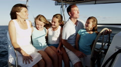 Caucasian Family Group Luxury Lifestyle Yacht Tourism Travel Health Insurance - stock footage
