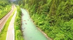 River Rafting  on the wild water in Austria Stock Footage