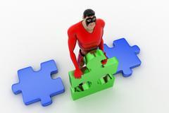 3d superhero  holding  piece of puzzle concept - stock illustration