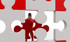 3d superhero  put last piece of puzzle on puzzle concept Stock Illustration