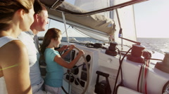 Young Caucasian Daughter Holiday Parents Tourism Yacht Insurance Sailing - stock footage