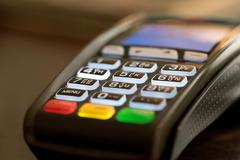 Stock Photo of Credit card swipe machine