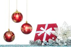 Luxury Christmas ball, flower and gift, Christmas sale Stock Photos