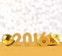 2016 year golden figures Stock Photos