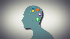 Thoughts appearing in brain with cog Stock Footage