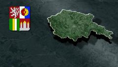 South Bohemia whit Coat of arms animation map - stock footage