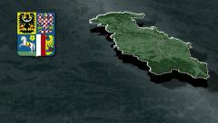 Moravia-Silesia whit Coat of arms animation map Stock Footage