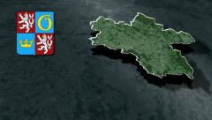 Hradec Kralove whit Coat of arms animation map Stock Footage