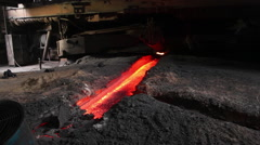 Molten steel & ash, Chinese factory Stock Footage