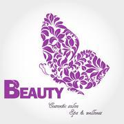Butterfly wing logo - stock illustration