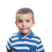 Dubious little boy Stock Photos