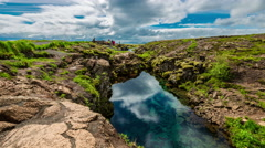 4K TimeLapse.  Plate tectonic rifting filled with clear water Stock Footage