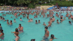 Time lapse of crowds of people in the pool Stock Footage