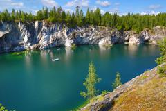 Marble quarry in ruskeala Stock Photos