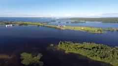 Onega lake and Kizhi island in Karelia - aerial view Stock Photos