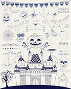 Vector Pen Drawing Hand Sketched Doodle Halloween Icons - stock illustration