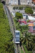 Aerial view of Funicular dos Guindais and picturesque houses in historic cent - stock photo
