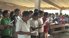 Stock Video Footage of Teenagers Sing in Peru attend a Christian Camp