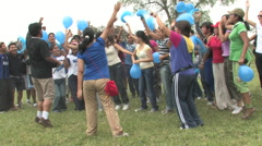 Stock Video Footage of Teenagers Cheering in Peru attend a Christian Camp