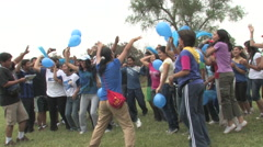 Teenagers Playing Games in Peru attend a Christian Camp - stock footage