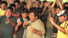 Teenagers Cheering in Peru attend a Christian Camp - stock footage
