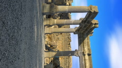 Vertical shot of Time-lapse of a stone ruins at Korazim, Israel. Stock Footage