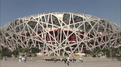 Birds Nest Stadium, Beijing, China Stock Footage