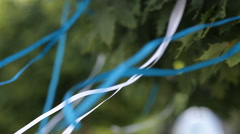 White and blue ribbons developed in the wind Stock Footage