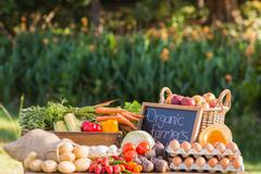 Table of fresh produce at market Stock Photos