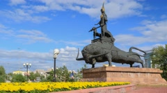 """Zher-Ana"" - the monument of Tamiris queen that standing on the bull Stock Footage"