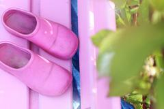 Pink clogs - stock photo