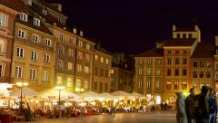 Pan Nightlife in Warsaw People visit old town marketplace square, Warsaw, Poland Stock Footage
