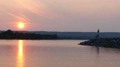 Couple viewing sunset at lake huron,canada,ontario 4K UHD Stock Footage