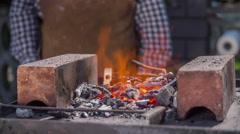 Firebox preparation on fair Stock Footage