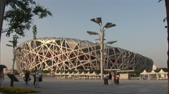 Birds Nest Stadium, Beijing landmark, China Stock Footage