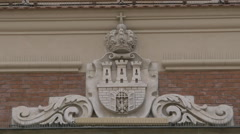 Beautiful sculpture on an old building in Krakow - stock footage