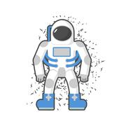 Astronaut on a white background. Cosmic traveler. Vector illustration. - stock illustration