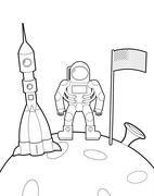 Astronaut with a flag on moon. Space rocket ship coloring book. Vector illust Stock Illustration