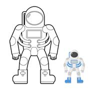 Astronaut coloring book. Vector illustration of a space man. - stock illustration