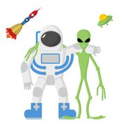 Astronaut and alien friends on a white background. Vector illustration. Rocke - stock illustration