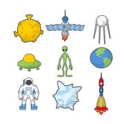 Set Space icons. Spacecraft and rocket UFO. Satellite and Earth, astronaut an Stock Illustration
