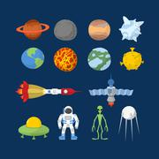 Space set of icons. Vector Illustrator. Cartoon heroes:  alien and UFO, astro Stock Illustration