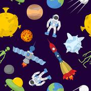 Space cartoon seamless pattern. Vector background. Astronaut and rocket Stock Illustration