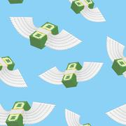 Winged money seamless pattern. Cash in  blue sky. Vector background Stock Illustration
