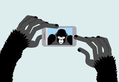 Selfie Monkey. Black Gorilla photographs. Animal and a Smartphone. Vector ill Piirros