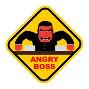 Danger angry boss. Aggressive head screams. Red businessman at table. Sticker - stock illustration